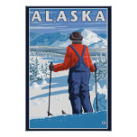 Skiing in Alaska Vintage Travel Poster