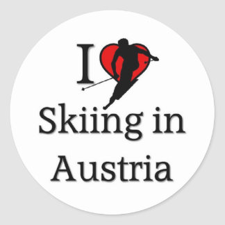 Skiing in Austria Classic Round Sticker