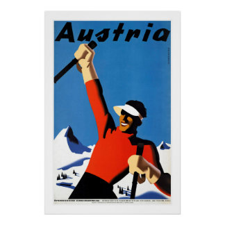 Skiing in Austria Vintage Travel Poster