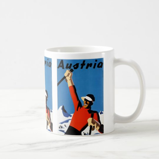 Skiing in Austria Vintage Travel Poster Coffee Mug