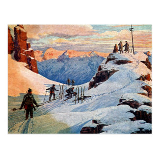 Skiing in the Mountains Post Cards