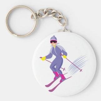 Skiing Keychain Basic Round Button Keychain