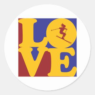 Skiing Love Round Sticker