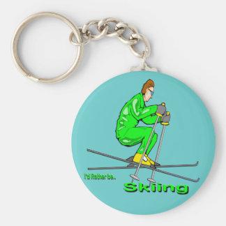 Skiing Man Basic Round Button Key Ring