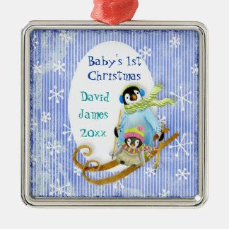 Skiing Penguin Baby's 1st Christmas Ornament