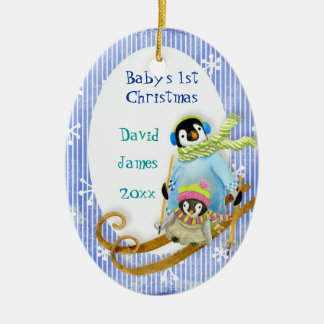 Skiing Penguin Baby's 1st Christmas Ornament