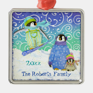 Skiing Penguin Family Christmas Ornament