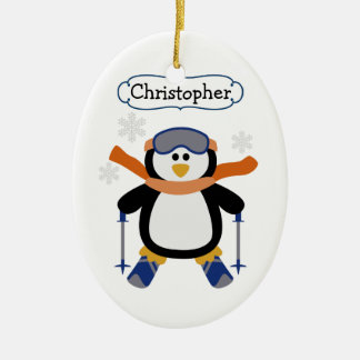 Skiing Penguin Personalized Christmas Ornament