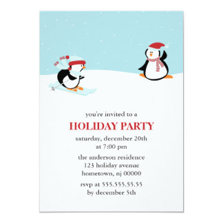Skiing Penguins Holiday Party Card