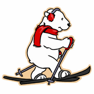 Skiing Polar Bear Photo Sculpture