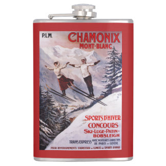 Skiing Promotional Poster Flask