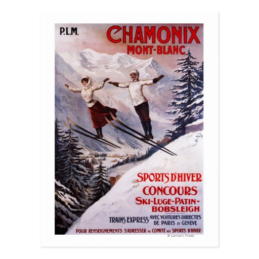 Skiing Promotional Poster Postcard