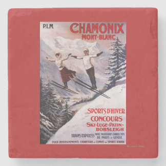 Skiing Promotional Poster Stone Coaster