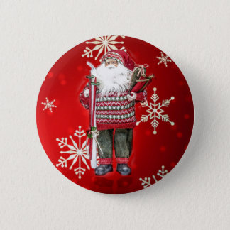 Skiing Santa 6 Cm Round Badge