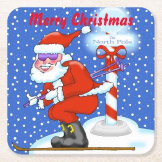 Skiing Santa Christmas Coasters