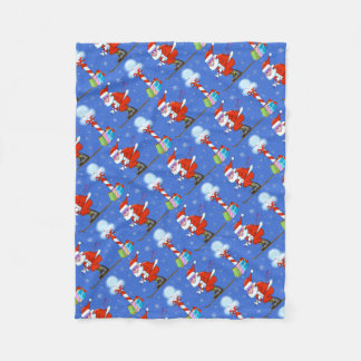 Skiing Santa Christmas Fleece Blanket
