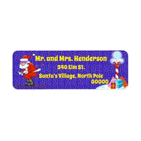 Skiing Santa Christmas Return Address Labels