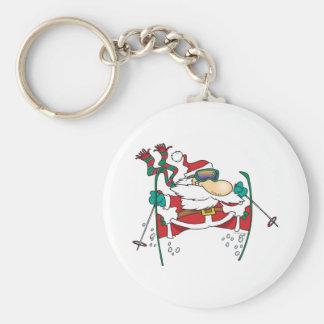 skiing santa claus cartoon basic round button key ring
