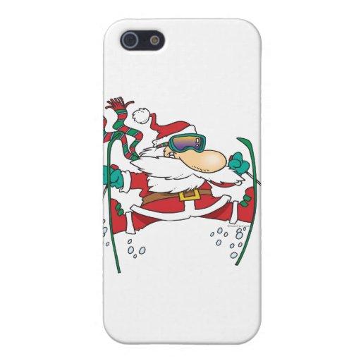 skiing santa claus cartoon iPhone 5 cases