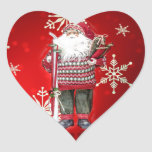 Skiing Santa Heart Sticker