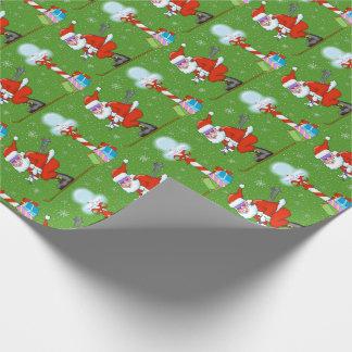 Skiing Santas Christmas Wrapping Paper