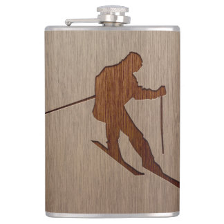 Skiing silhouette engraved on wood design hip flask