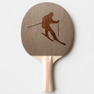 Skiing silhouette engraved on wood design ping pong paddle