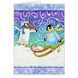 Skiing Ski Penguin Christmas Photo Card