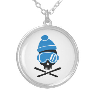 Skiing skull personalized necklace