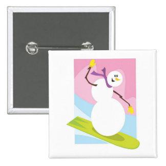 Skiing Snowman 15 Cm Square Badge