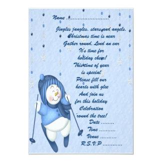 Skiing Snowman - Invitation