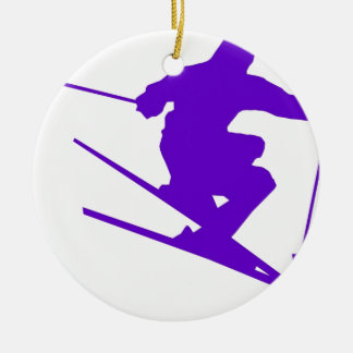 Skiing Sport Design Round Ceramic Decoration