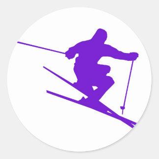 Skiing Sport Design Round Sticker