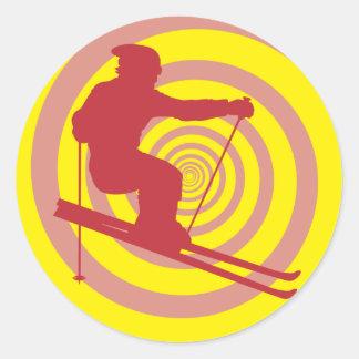 Skiing Round Stickers