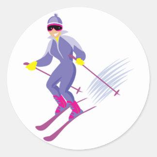 Skiing Stickers Round Sticker