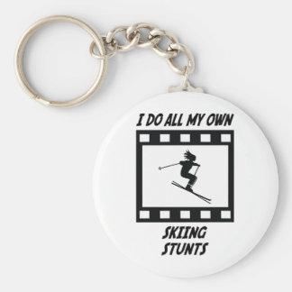Skiing Stunts Basic Round Button Key Ring