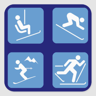 Skiing Symbols Square Sticker