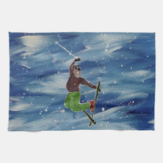 Skiing tea towel