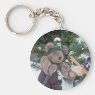 Skiing Teddy Bear on the slopes Basic Round Button Key Ring