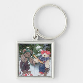 Skiing Teddy Bears on the slopes Silver-Colored Square Key Ring