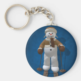 Skiing Vintage Snowman Key Ring