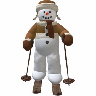 Skiing Vintage Snowman Acrylic Cut Outs