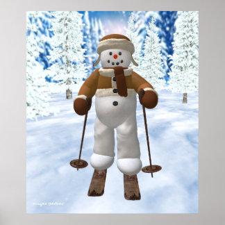 Skiing Vintage Snowman Poster