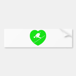 Skiing White on Green Heart Bumper Sticker