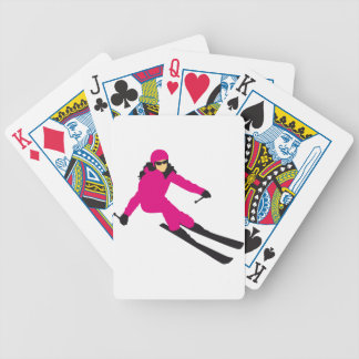 skiing woman bicycle playing cards