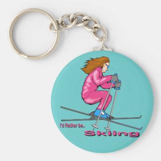 Skiing Woman Basic Round Button Key Ring