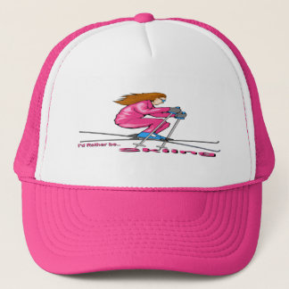 Skiing Woman Trucker Hat