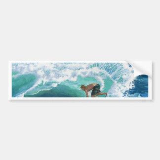 Skimboard Surfer Bumper Sticker
