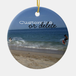 Skimboarders in the Surf; Customizable Christmas Ornament