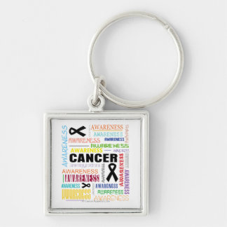 Skin Cancer Awareness Collage Silver-Colored Square Key Ring